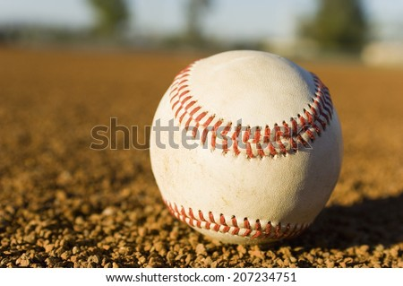 Close-up of Baseball in Infield - stock photo