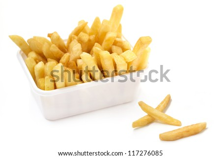 close up of basket of fries on white background - stock photo