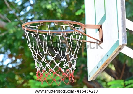 close up of basketball hoop, basketball net in the park - stock photo