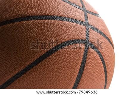 Close up of basketball isolated on white background. - stock photo