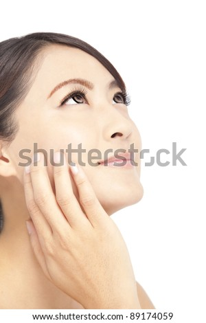 Close up of beautiful asian woman face - stock photo