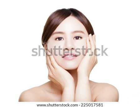 close up of beautiful asian young woman with smiling expression.skin care concept