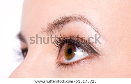 Close-up of Beautiful brown eyes of young girl