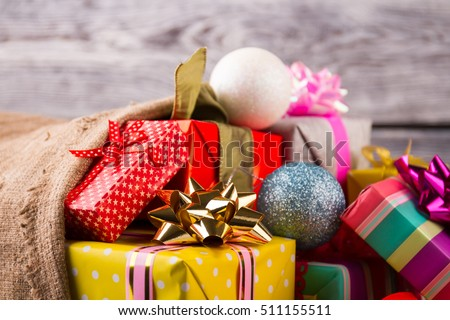 Christmas gifts stock images royalty free images vectors close up of beautiful christmas gifts christmas surprises gifts with christmas balls negle Choice Image