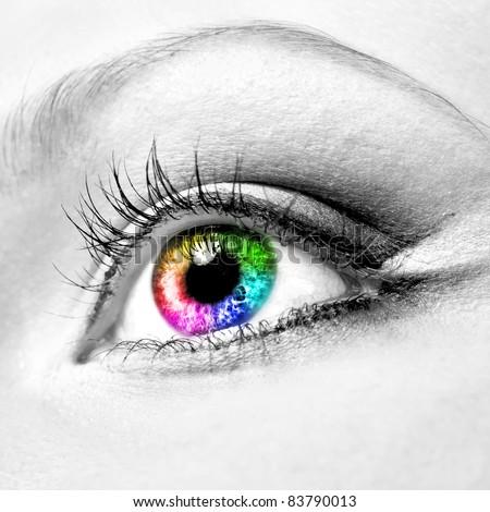 Close-up of beautiful colourful human eye - stock photo