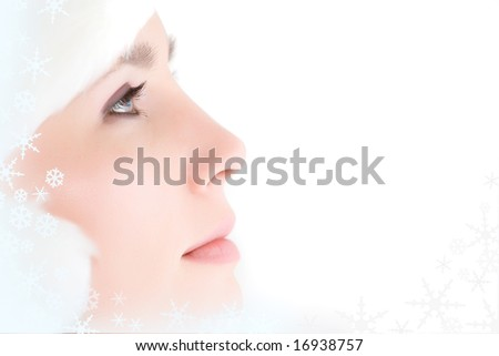 Close-up of beautiful face of woman isolated on white