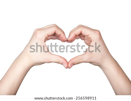 Close up of beautiful female hands form heart shape isolated on white background - stock photo