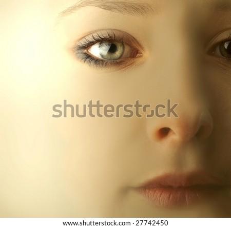 close up of beautiful girl face - stock photo