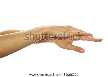 Close-up of beautiful girls hands. Isolated on a white background - stock photo