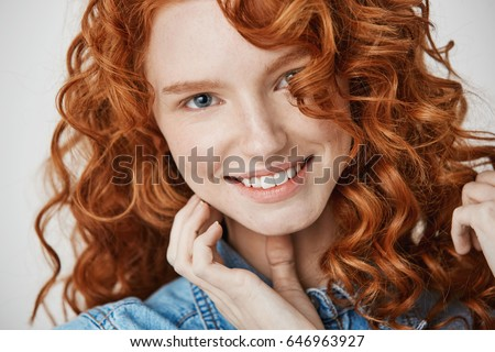 close beautiful natural ginger girl freckles stock photo (edit now