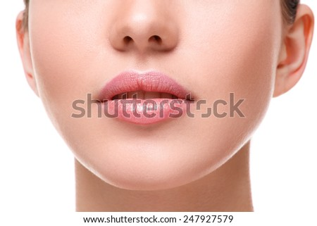 Close up of beautiful pink lips - stock photo