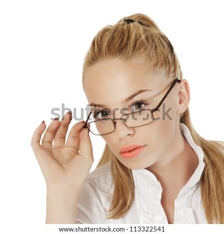 close up of beautiful sexy teacher - stock photo