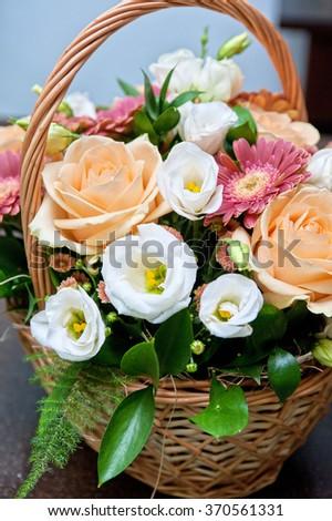 close up of beautiful wedding bouquet - stock photo
