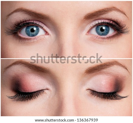 Close up of beautiful woman blue eyes - stock photo