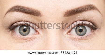 close up of beautiful woman eyes - stock photo