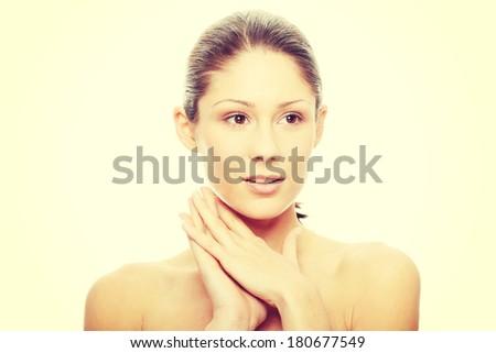 Close-up of beautiful woman face - stock photo