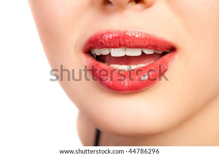 close-up  of beautiful woman lips, isolated on white