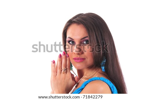 Close-up of beautiful woman on white background