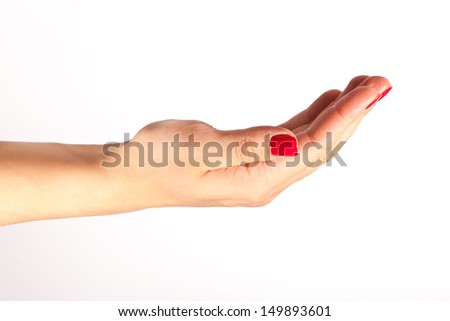Close-up of beautiful woman's hand isolated on white background  - stock photo