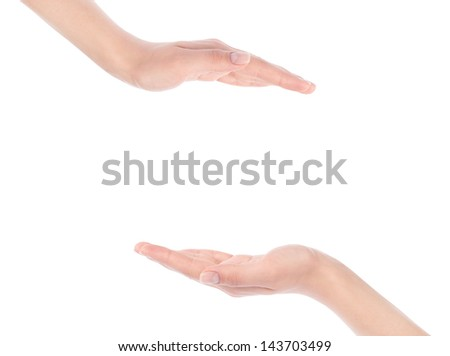 Close-up of beautiful woman's hand, palm up. Isolated on white background - stock photo