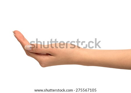Close-up of beautiful woman's hand, palm up. Isolated on white background. - stock photo