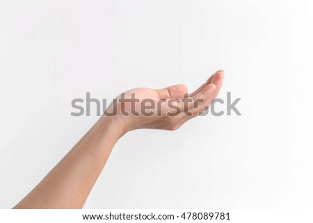 Close-up of beautiful woman's left hand isolated on white backgr