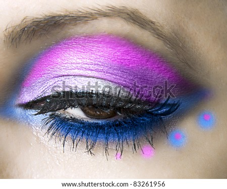close-up of beautiful womanish eye. Fashion make up