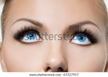 close-up of beautiful womanish eyes - stock photo