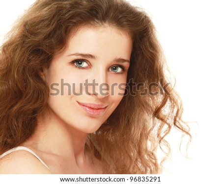 Close-up of beautiful young woman isolated on white background