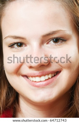 Close up of beauty female smile  girl - stock photo