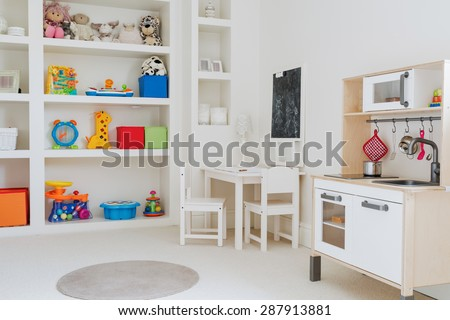 Close-up of beauty toys in child's room - stock photo