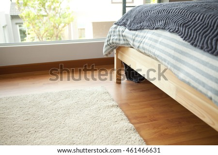 close up of bedroom mattress and carpet