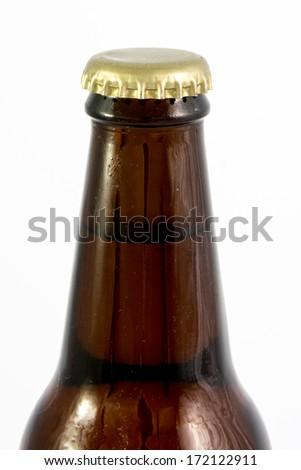 close up of beer bottle - stock photo