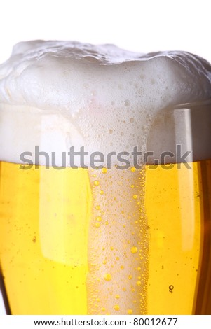 close up of beer with foam - stock photo