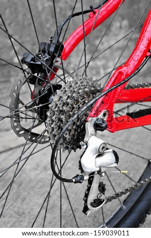 Close up of bicycle gears - stock photo