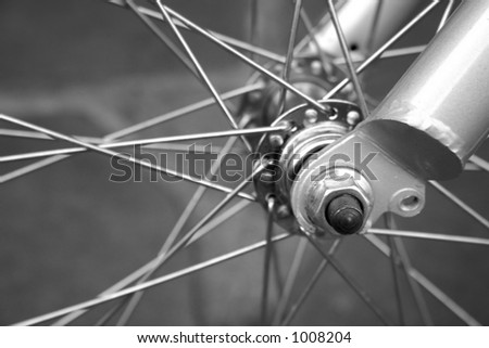 Close up of bicycle spoke in black and white