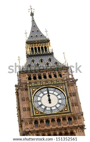 Close-up of Big Ben at midday - stock photo