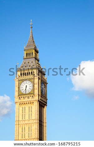 Close up of Big Ben Clock Tower Against Blue Sky England United Kingdom