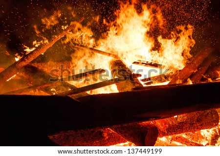 close up of big fire with huge flames - stock photo