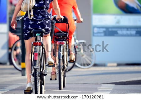 Close up of bike and bicyclist, it's summer - stock photo