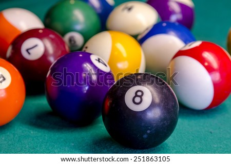 Close up of billiard balls sitting on pool table with eight ball in front