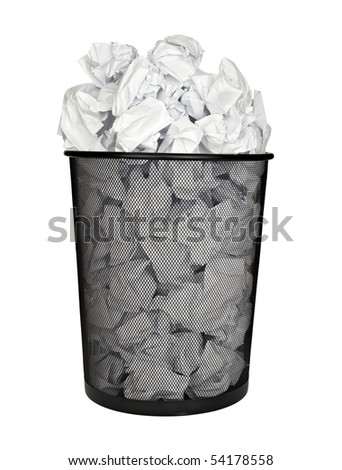 close up of bin full of waste paper on white background with clipping path - stock photo