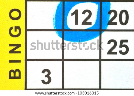 Close up of Bingo Card with one number circled - stock photo