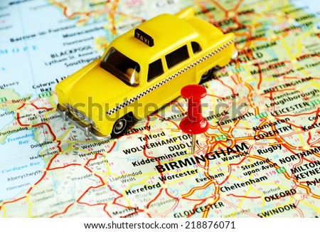 Close up of  Birmingham ,United Kingdom  map with red pin - Travel concept  - stock photo