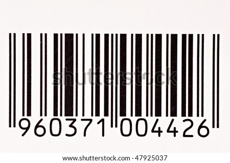 close up of black and white barcode with numbers