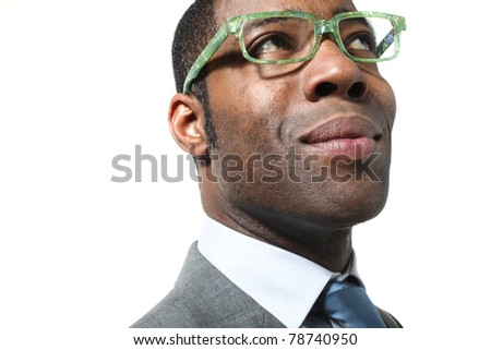 close-up of black businessman with suit over white background - stock photo