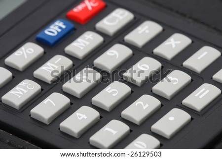 Close up of black calculator number keypad.