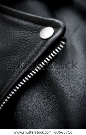 close-up of black leather jacket details - stock photo