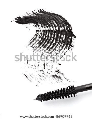 close up of black mascara on white background - stock photo