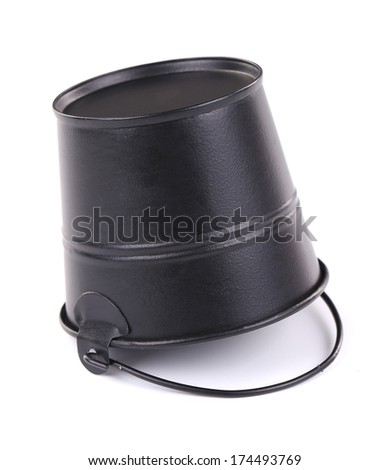 Close up of black metal bucket. Isolated on a white background.